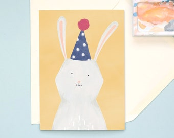 Bunny in Party Hat Hand Illustrated A6 Birthday Card