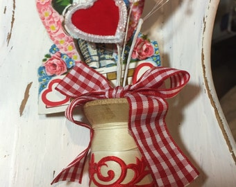 Vintage Valentine spool decoration