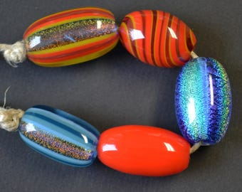 Handblown Glass Dichroic and Color Beads - Wholesale - Variety 5 pack
