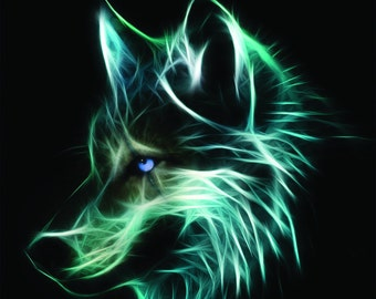 Wolf Face cross Stitch Pattern on BLACK or White Cloth, 14 ct. Aida