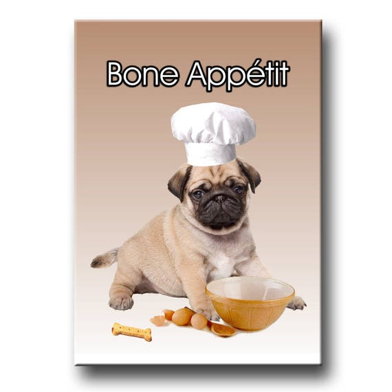 Pug Bone Appetit Chef Fridge Magnet (Puppy)