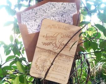 Wood Wedding invitation.  Watch love grow rustic wedding invite. Laser Etched Wooden Invitation. 12cm x 18cm size. 10 Pack