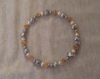 Delicate Silver, Gold, and White Beaded Wraparound Bracelet