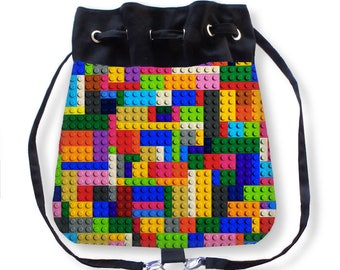 Lego Backpack-Lego Cinch Bag-Boho Bag-Lego Bag-Cinch Sack-Canvas Cinch Bag-Colorful Messenger Bag-Drawstring Backpack-Lego Sling Bag
