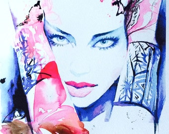 Pink Fashion Watercolor Painting - Original Illustration by Lana Moes - Fashion Collection Pink Butterflies
