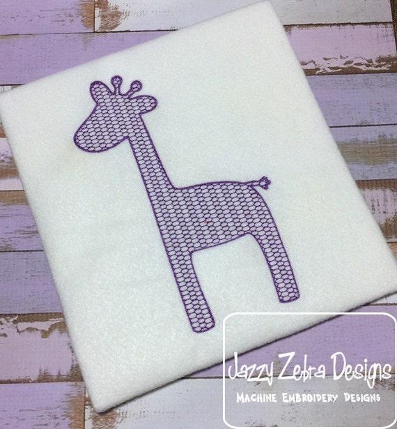 Giraffe motif filled embroidery design - zoo embroidery design - safari embroidery design - giraffe embroidery design - baby embroidery