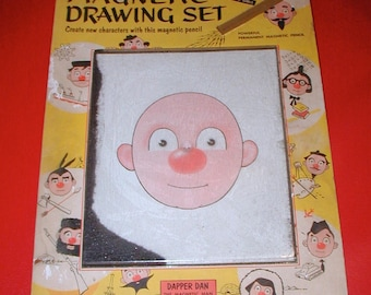 Dapper Dan the magnetic man vintage drawing set and kids toy rare original collectible
