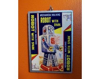 """retro robot print vintage 1950s outer space tin toy kitsch 3.5"""" X 5"""" wall decor"""