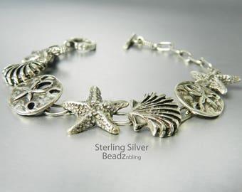 Vintage Sterling Silver Seashell Bracelet Sea Life Charm Bracelet Starfish Sand Dollar Scallop Shell Toggle Clasp