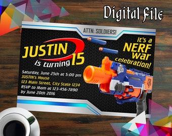 Nerf Invitations,Nerf Birthday,Nerf Party,Nerf Birthday Invitations,Nerf Printable,Nerf Invite,Nerf Birthday Party,Nerf Invites-520