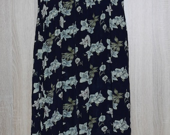 Vintage Long Dress, Navy blue Dress, Summer Floral Dress