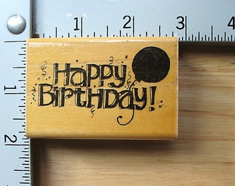 DOTS Birthday and Balloon DESTASH Rubber Stamp, Used Rubberstamps