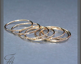 Set of 7 Gold Rings, Handmade Rings, Stackable Rings, Cursive Ring, Band Rings, Minimalist Jewelry, Gold Jewelry, Gift For Her