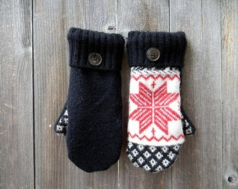 Upcycled Wool Mittens Gloves Child Teen Women Gloves Warm Mittens Sweater Mittens SMALL