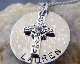 Decorative Cross Name Necklace or Keychain