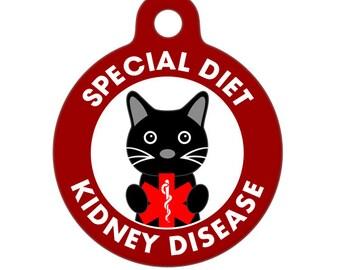 Pet ID Tag - Special Diet, Kidney Disease, Cat Medical ID Tag - Medical Alert Tag, Pet Tag, Child ID Tag, Dog Tag, Cat Tag