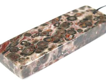 GREAT SALE - was 19.99 - Leopard Skin Jasper Slim Rectangle Pendant - 50mm x 16.5mm x 7mm - B1956