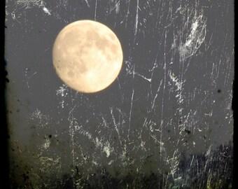 Moon of Emergence- waxing moon almost full, full moon, golden moon, winter moon, grey sky, textured moon photo, grungy, moon art