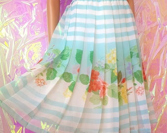 VINTAGE 1980s Aqua Blue Stripe and Floral Pleated Midi Skirt by YARELL UK12-14