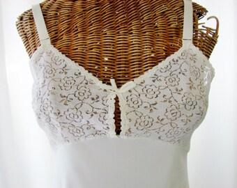 70s Olga Ivory White Mini Dress Slip Unworn Size 34