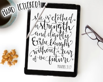 She Is Clothed In Strength and Dignity Proverbs 31 SVG Cut File, Hand Lettered, Silhouette, Cricut, Calligraphy Cutting File, DIY Sign