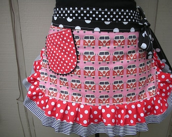 Womens Aprons / Aprons with VW Fabric / Volkswagen Fabric / Red VW Bus Apron /  Pink VW Aprons / Annies Attic Aprons / V W Camper Bus Aprons