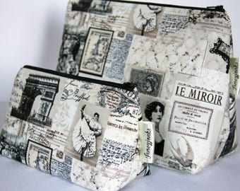 Retro Vintage Parisian Newsprint Style Makeup and Wash Bag. Great Gift for Ladies