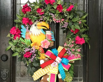 It's Five O'Clock Somewhere let's party wreath.