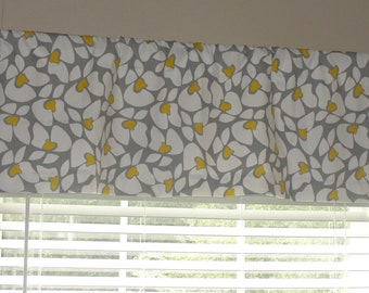 """Premier Prints Helen Valance 50"""" wide x 16"""" long Lined or Unlined Storm Gray Yellow and White"""