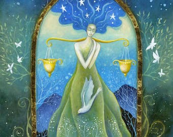 Zodiac art print. Libra.  Decorated with gold leaf detail.  From an original painting by Amanda Clark.