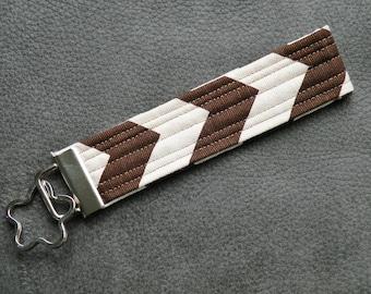 Brown and White Chevron Thread Fabric Key Fob Wristlet