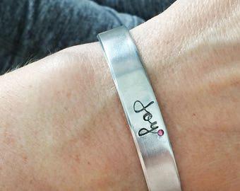 joy - Romans 15:13 - hand stamped bracelet - Christian jewelry - scripture - bible verse - faith life - encouragement