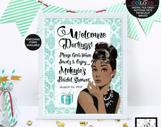 Welcome darling BRIDAL SHOWER sign, Audrey Hepburn african american, damask party signs, entrance decoration poster sign. PRINTABLE