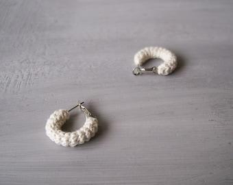 Off White Small Hoop Earrings Crochet Tube Hoops, 1 inch Hoops Crochet Jewelry, Minimalist Earrings Gift for Her