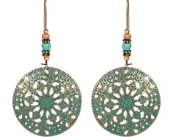 bronzed dangle earrings verdigris patina