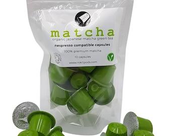 Rokit Organic MATCHA Tea Nespresso Compatible Capsules - Matcha Green Tea Instant Drink by Rokit Pods