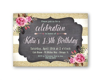 Teen Birthday Invitations, Girl's 13th Birthday Party Invites, 14th 15th 16th or Any Age, Printable or Printed, Faux Gold Glitter Stripes
