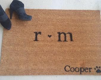 Couples Custom Made Outdoor Doormat/Welcome Mat - initials and pet name