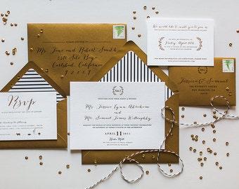 Gold Foil Wedding Invitation: Floral and Elegant