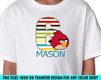 Angry Birds Iron On Transfer , Angry Birds DIY Transfer , DIY Angry Birds Boy Birthday Shirt , Personalize Name And Age , Digital Files