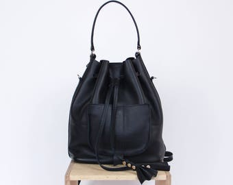 Black leather bucket bag | bucket bag | leather bucket bag | leather backpack | leather purse | for her | navy blue leather | gift | Black