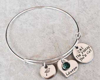 Oh! The places you'll go! Personalized graduation bracelet graduation jewelry graduation cap class of 2017 2018 2019 high school college
