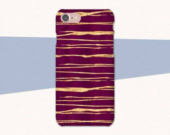 Magenta and Gold iPhone 7 Case, Red iPhone 6 Case, Striped Phone Case, iPhone 7 Plus Case Red, Cases for iPhone 6S, Red, Magenta iPhone SE