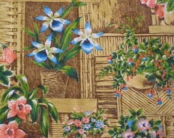 Vintage 1960s Tiki Fabric Mid Century Modern UNUSED (3758-W)