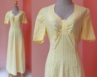 Gingham Dress 70s Dress Plaid Dress Vintage Dress 1970s Dress Women Tartan Dress White Yellow Cotton Maxi Dress Short Sleeve Medium Size 8