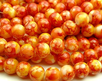 Dark Red and Yellow Round Glass Beads - 8mm Smooth Mottled Beads, Shiny Colorful Bohemian Beads - 25pcs - BL13