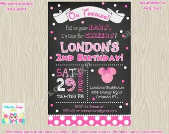 Minnie mouse chalkboard birthday invitation Minnie invitation minnie birthday invitation minnie mouse birthday invitation invite printable