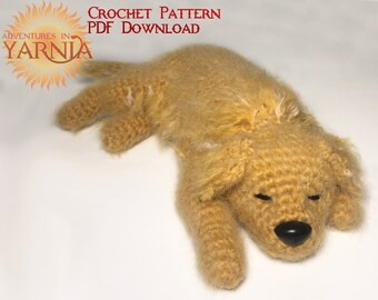 Sleepy Golden Retriever Amigurumi Crochet Pattern, Instant PDF Download, Crochet Dog, Labrador