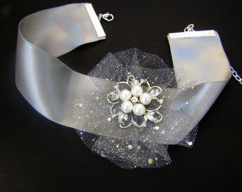 Choker necklace fairytale snow Queen silver