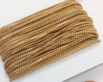 En plaqué or en laiton perles chaine 1mm 32ft bobine